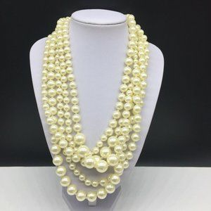 J CREW Faux Pearl Beaded Twisted Hammock Necklace